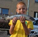 8 Year Old Dylan Hindmarch With His First Salmon. 5th Aug 13 Wick River.